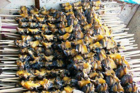 INDONESIA BANGET,  Bahan yg dipakai adalah siput sawah yg populer dg sebutan KRECO  di jawa timur binatang ini hanya bisa hidup di pematang sawah ketika musim tanam padi,  juga biasa disebut KUL di daerah lain atau KEONG SAWAH. Sate Siput   Sate siput memang terbuat dari bahan daging siput. Namun, popularitas hidangan ini sudah menurun sejak dinyatakan haram oleh Majelis Ulama Indonesia (MUI).