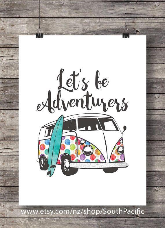 Soyons des aventuriers - aquarelle camper van voyage surf surfeur voyageur errer wanderlust sticker imprimable Téléchargement instantané