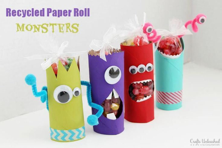DIY Art & Crafts : DIY Toilet Paper Roll Crafts: Recycled Monster Treat Holders