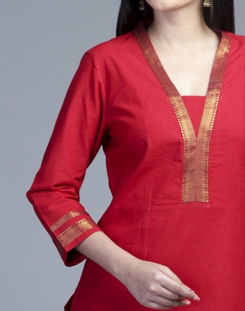 Cotton Panelled Raised Neck Zari Border Long Kurta