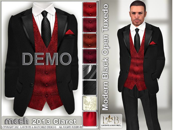 Black Tux Red Vest With Tie For Groomsmen