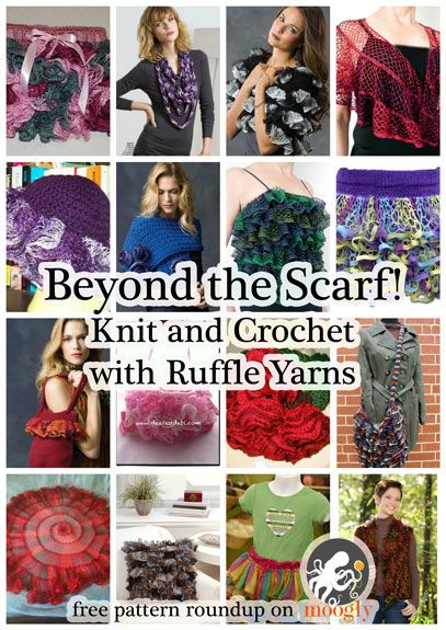 Ruffle yarns can make more than the ubiquitous twirly scarf! Here are 16 free patterns to knit and crochet with this fun novelty yarn!