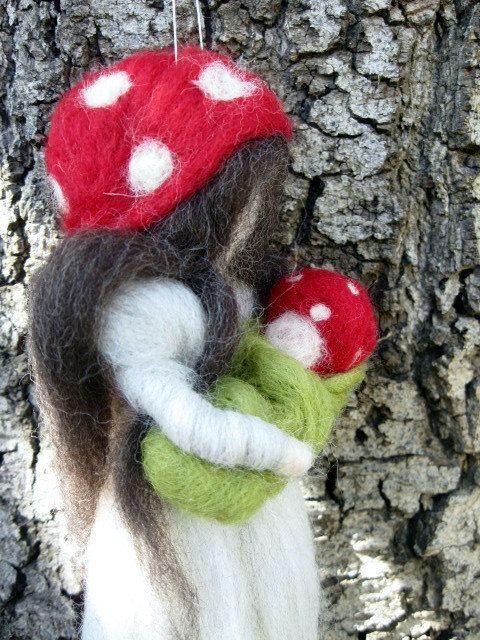 Needle Felted Waldorf Fairy Mushroom Mother and by thewoolengnome