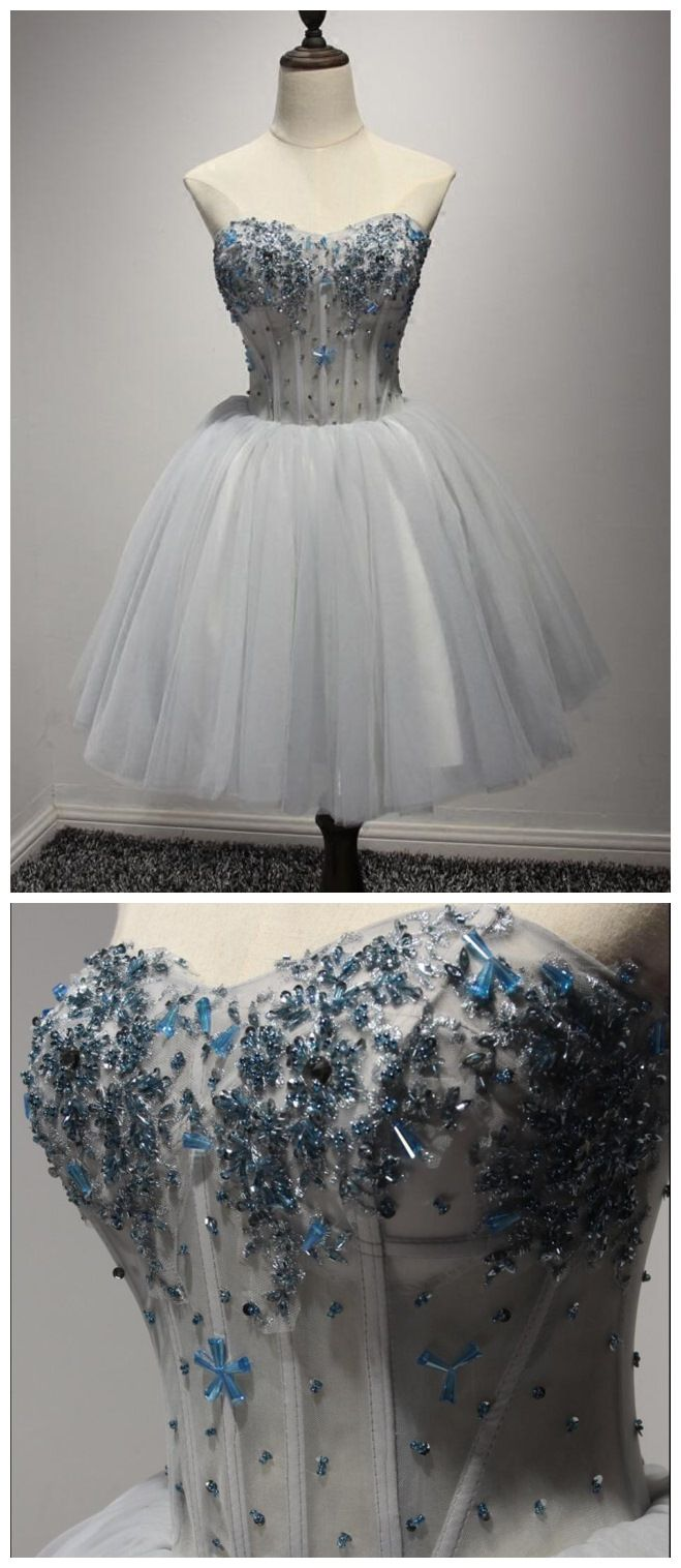 4958e692761 Silver Tulle Homecoming Dresses Strapless Beaded Short Prom Dress ...