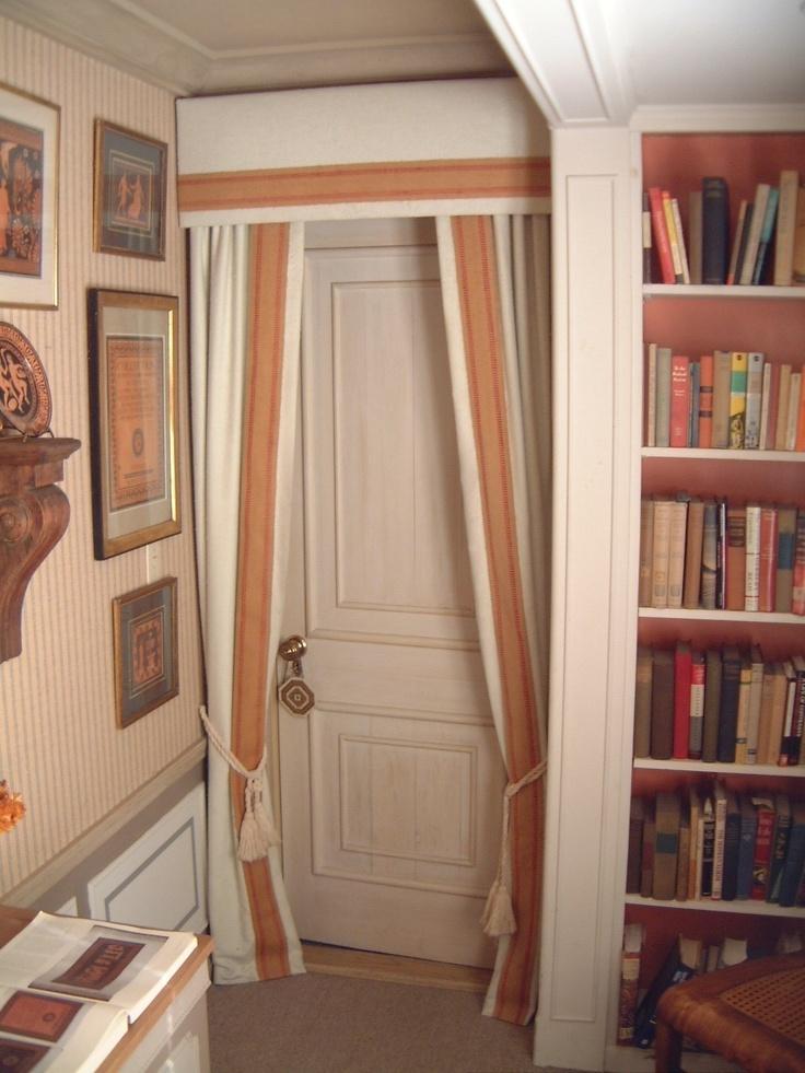 Media Room Curtain Ideas Part - 34: Cute Curtain Idea For A Media Room Door.