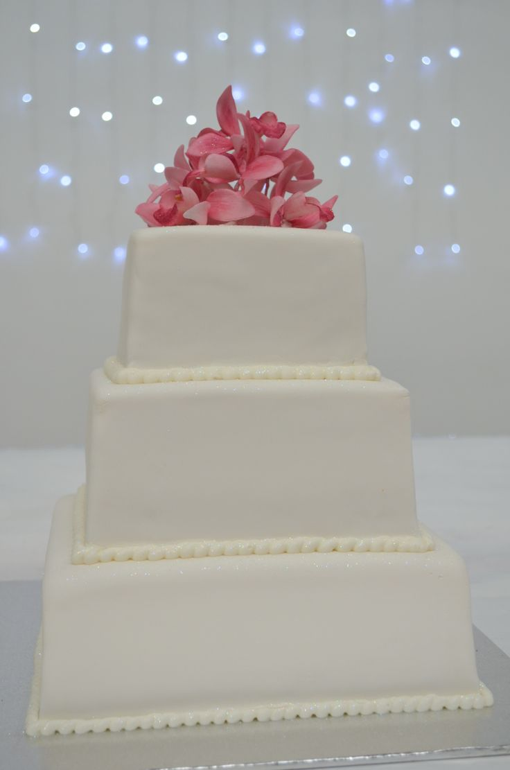 Wedding Cake, square three tiered cream cheese frosting