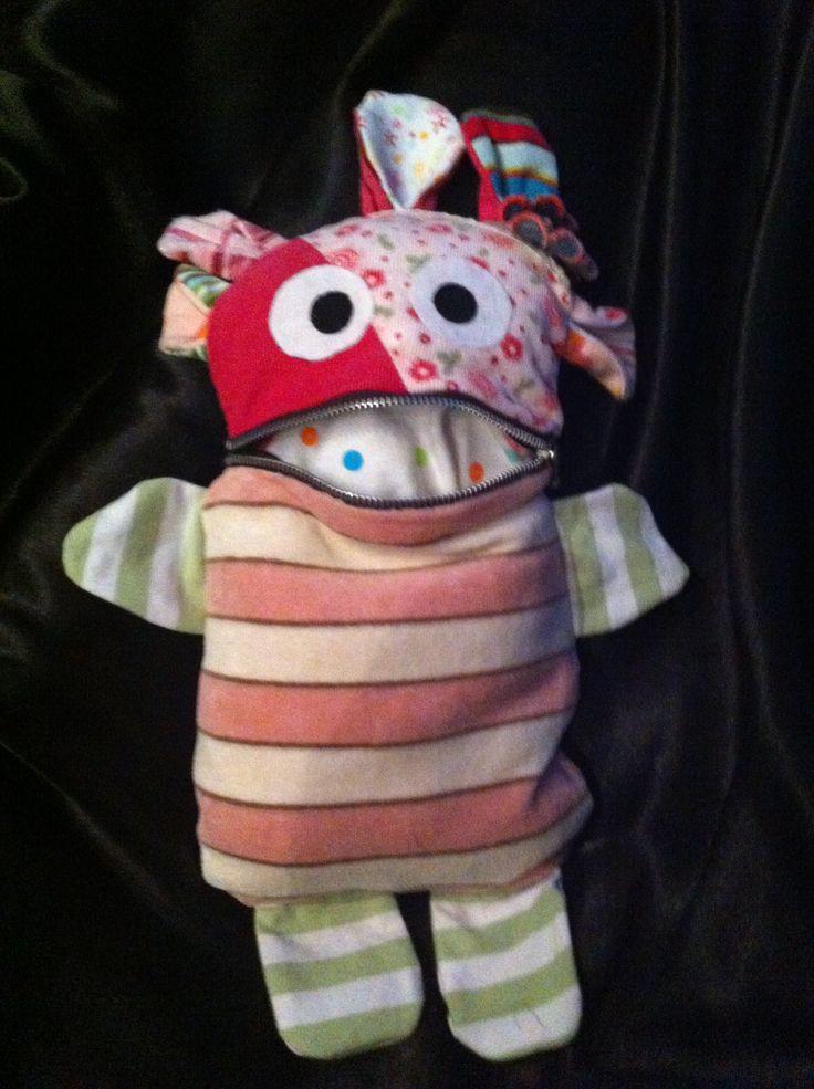 Een zorgenvriendje DIY gepatchworked van m'n dochters oude babykleertjes...