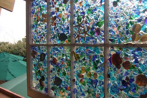 sea glass and sea shell window art