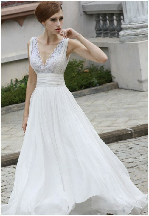 Fancy vintage style lace chiffon wedding dress