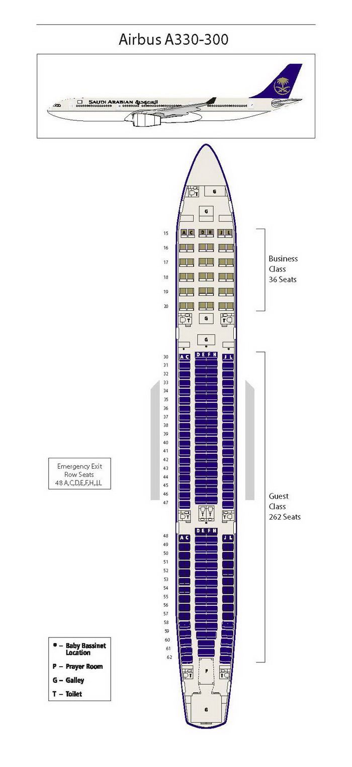 SAUDI ARABIAN AIRLINES AIRBUS A330-300 SEATING CHART ...