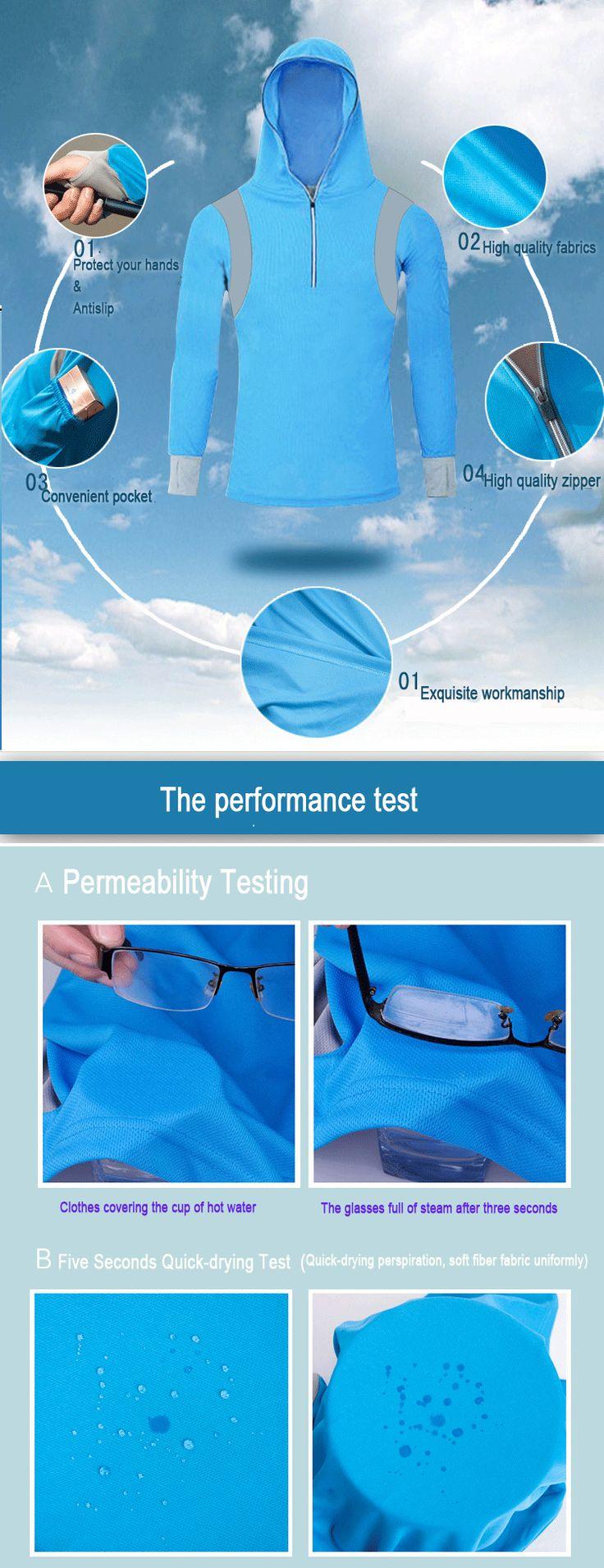 Men's Quick Dry Bamboo Fiber Long Sleeve Breathable Fishing Shirts UV Sunscreen Cloth With Hood