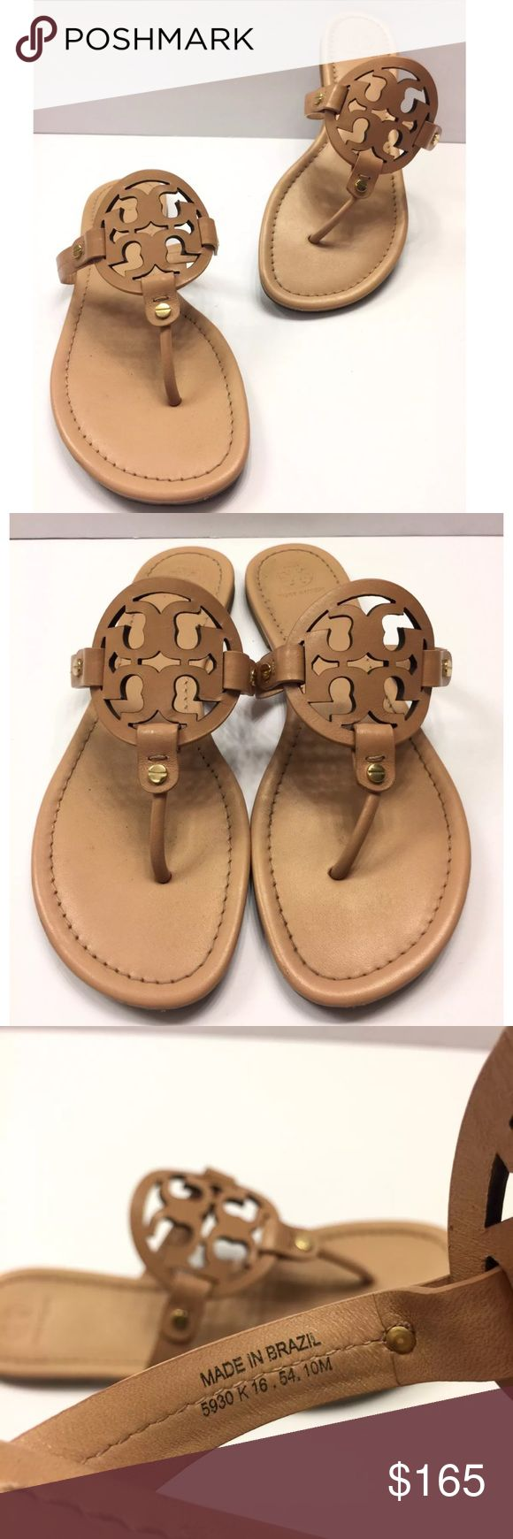 Tory Burch 'Miller' Flip Flop Makeup Leather Store Display or Return Item from Nordstrom's.  Good Condition with minor scuff on Front of the sandal , Nothing mayor that will take away the Classy look. Sole Protector added by Professional Cobbler,  A must have style. Please Check All Pictures, I will be more than happy to answer any Questions.  NO SHOE BOX OR DUSTBAG A foam-cushioned footbed makes it a comfortable choice for long summertime days. Leather or synthetic upper/leather…