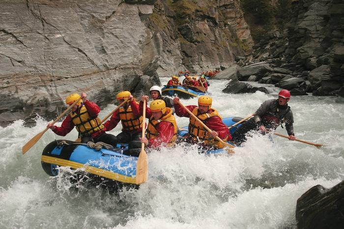 Tackling the white water on the Shotover River in Queenstown