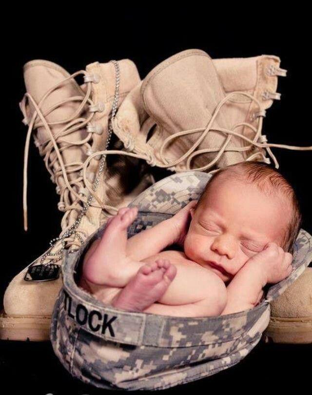 Cute newborn picture idea. Perfect for a military family!