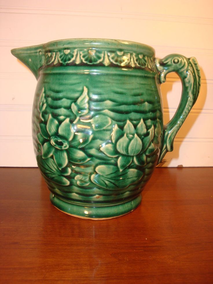 Vintage Mccoy Green Stoneware Pitcher Water Lily Lotus Fish Handle Pottery And China