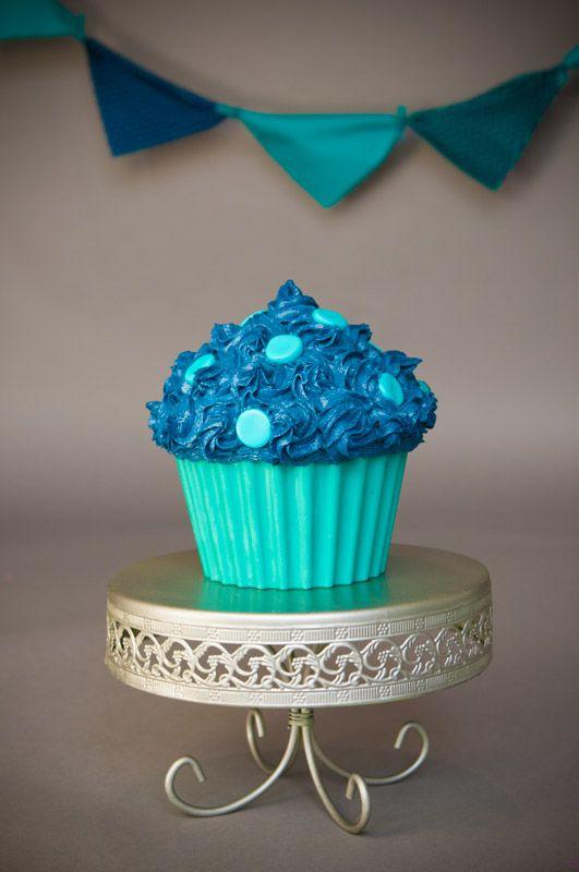 Boys Cake Smash Giant Cupcake Navy Blue Amp Teal My Cake