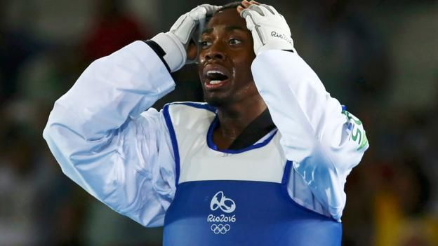 Lutalo Muhammed is devastated to be beaten into second place in the taekwondo final by Cheick Sallah Cisse of the Ivory Coast. 19th August 2016