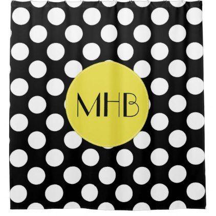 Monogram - Polka Dots Spots - Black White Yellow Shower Curtain - shower curtains home decor custom idea personalize bathroom