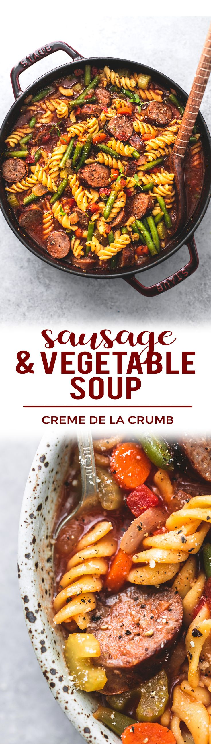 This hearty sausage and vegetable soup is loaded with juicy grilled Italian sausage, tender pasta noodles, vegetables and bold savory flavors! | lecremedelacrumb.com #recipe #healthy #easy #soup http://eatdojo.com/healthy-soup-recipes-for-weight-loss-easy-yummy/