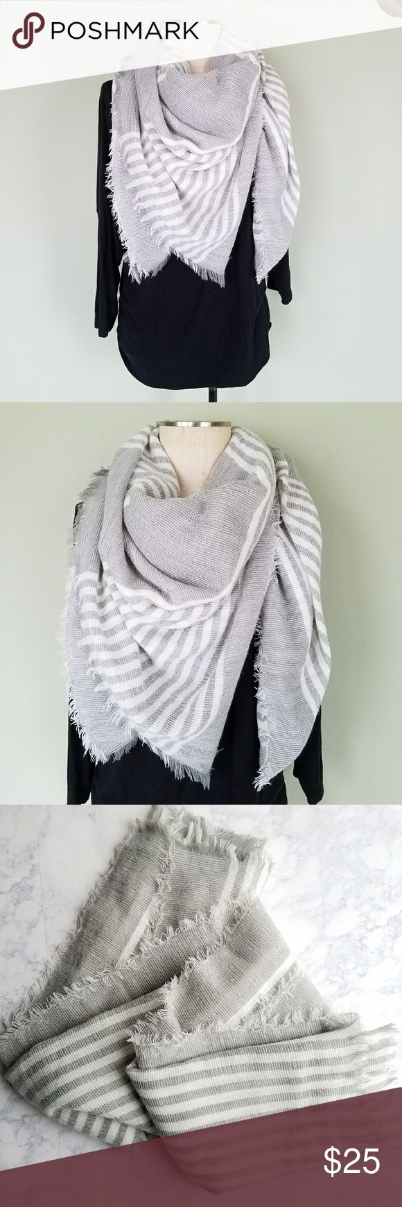 """Oversized Striped Tartan Blanket Scarf Plaid Oversized & super cozy!  Striped Blanket Scarf.  Gray white stripe. Fringe edges.  Square - 55"""" x 55""""  Excellent condition!  So many ways to wear it! Accessories Scarves & Wraps"""