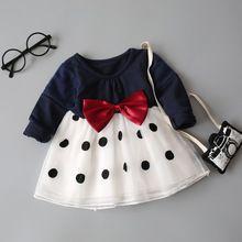 Meninas do bebê mangas compridas dress criança polka dot vestidos tutu dress roupas infantis bowknot vestido princess dress