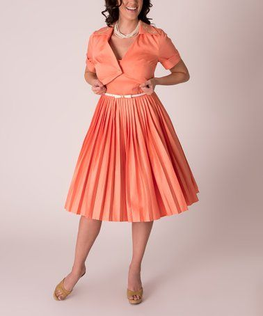 Another great find on  zulily! Coral Clementine Fit   Flare Dress    Embroidery-Accent Bolero - Women   Plus  zulilyfinds e07f2bda1