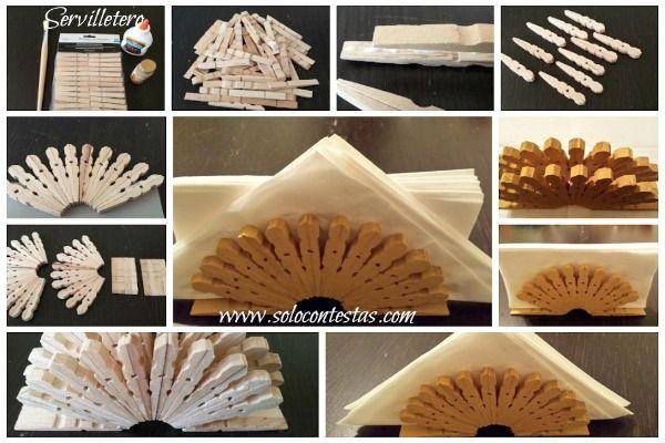 Reciclaje un servilletero decorativo hecho con pinzas de for Pinzas de cocina