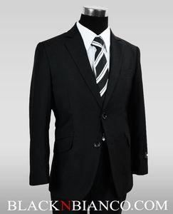 Boys Black Slim Fit Suit BLACK N BIANCO