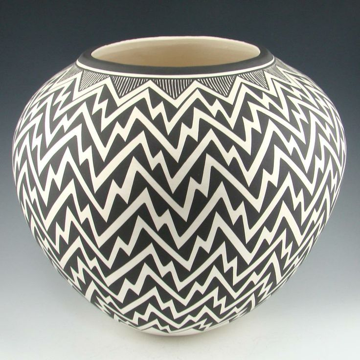 Black and white acoma pot by kathy victorino design for Design patterns for pot painting