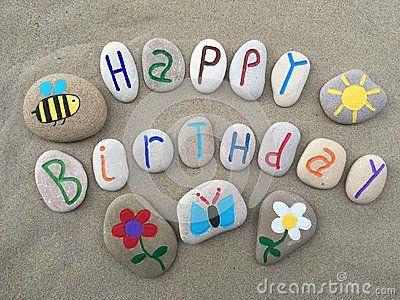 Stone art message for a wonderful Happy Birthday