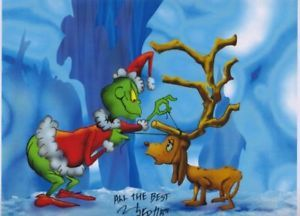 Grinch Stole Christmas Cute Tribute Print With Puppy