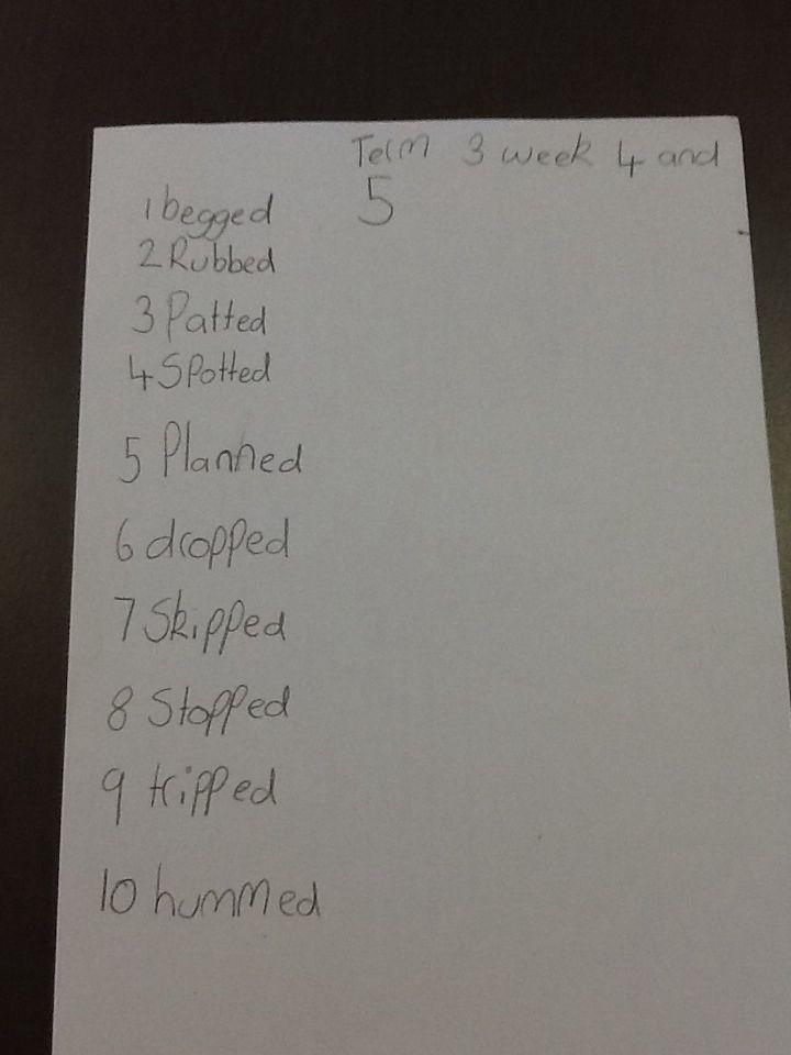 Mia's spelling words week 4 and 5