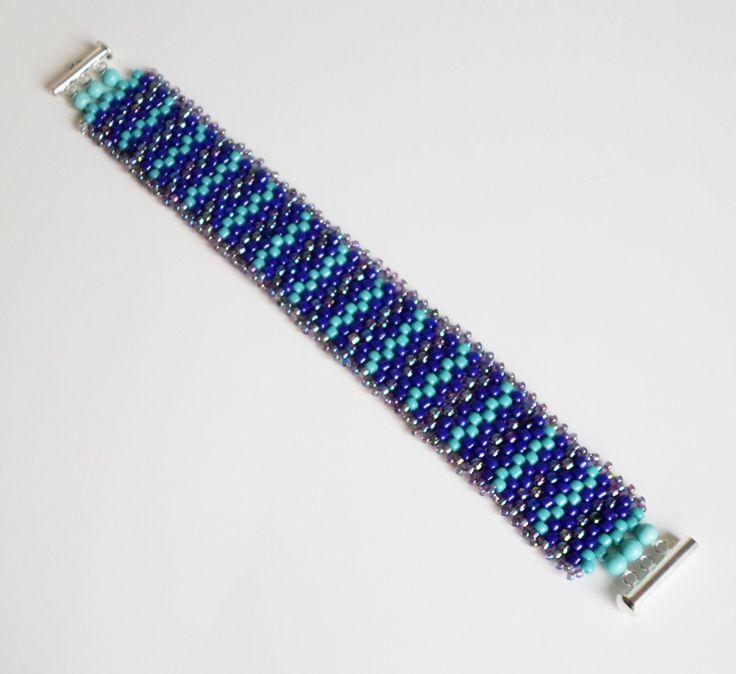 3051 Peyote stitch bracelet with slide clasp.  $32   by Darlene Pfahl