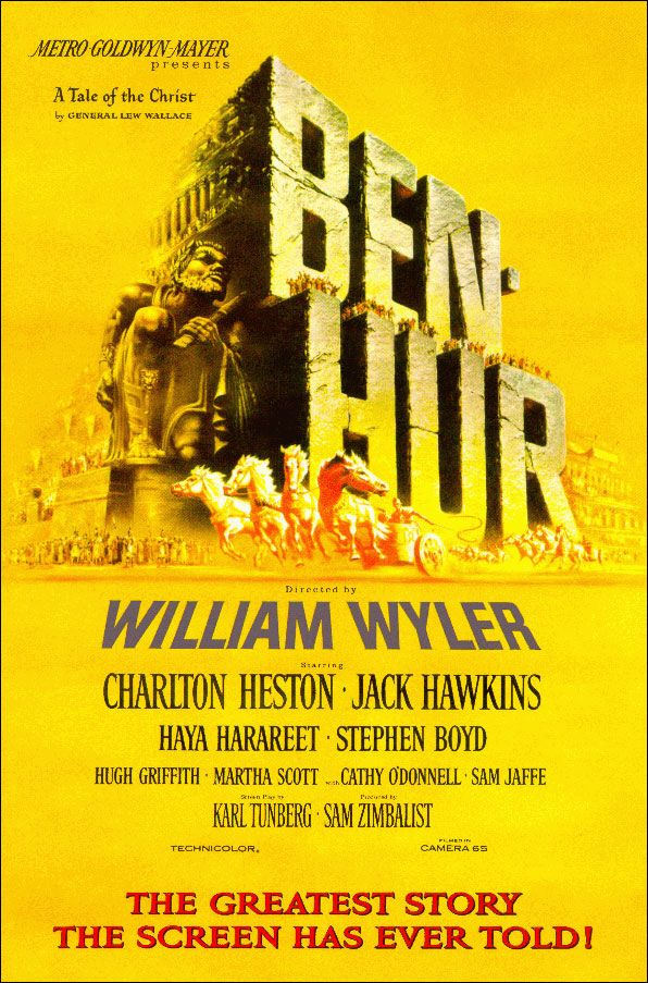 Charlton Heston, Jack Hawkins, Stephen Boyd. Director: William Wyler. IMDB: 8.1 _____________________________ https://en.wikipedia.org/wiki/Ben-Hur_%281959_film%29 https://www.rottentomatoes.com/m/benhur/ http://www.tcm.com/tcmdb/title/415095/Ben-Hur/ Article: http://www.tcm.com/tcmdb/title/415095/Ben-Hur/articles.html http://www.allmovie.com/movie/ben-hur-v4794