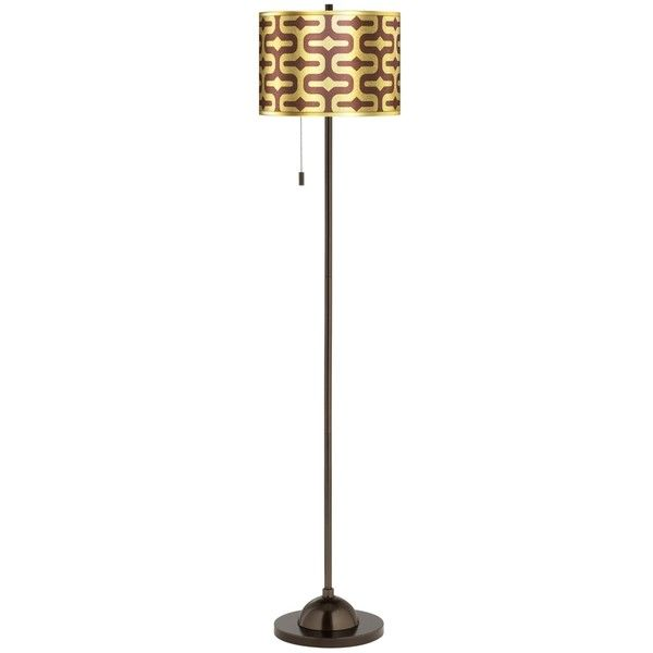 Reflection Gold Metallic Giclee Glow Bronze Club Floor Lamp ($130) ❤ liked on Polyvore featuring home, lighting, floor lamps, brown, brown floor lamp, metallic lamp, brown shade, gold lighting and brown drum shade