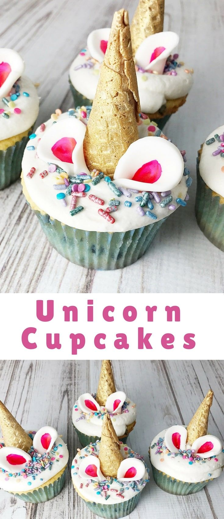 Cupcakes decorated as unicorns! I am always a day late and a dollar short when it comes to trends, so hopefully you aren't too unicorned out yet.