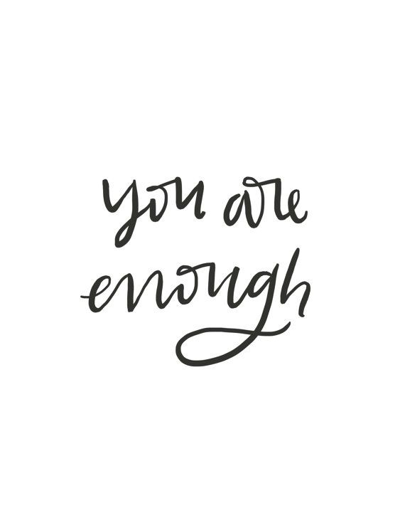 You Are Enough // Brush Script Quote // Digital Print ...