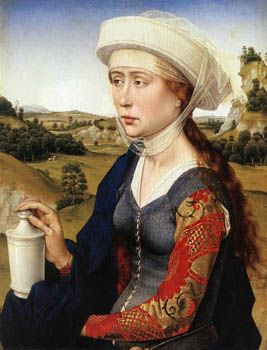 The lacing pattern on this is freakin' rockin'.  (Rogier Van der Weyden, The Braque family triptych 1450)  #sca