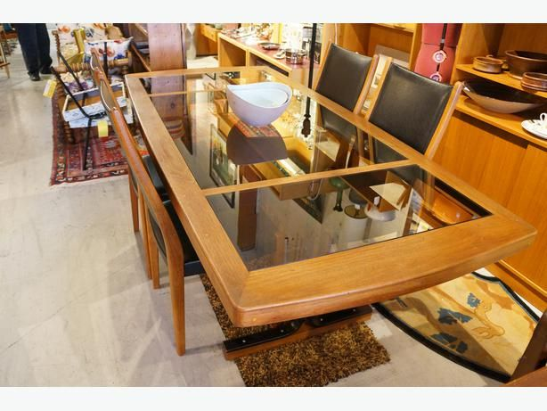 CUSTOM MADE TEAK AND GLASS TOP DINING ROOM TABLE (I-52179)