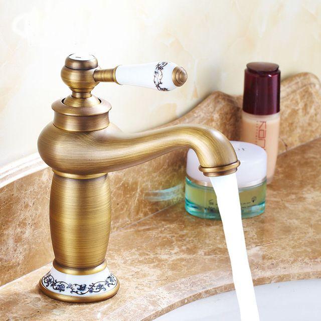 Rétro salle de bains évier bassin robinet, Lampe magique style robinet d'eau vintage, Antique toilette de cuivre lavabo robinet mélangeur, Livraison Gratuite