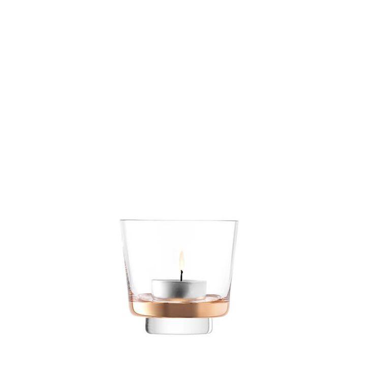 Edge Tealight Holder H8cm, Rose Gold x 2 by LSA at Dotmaison