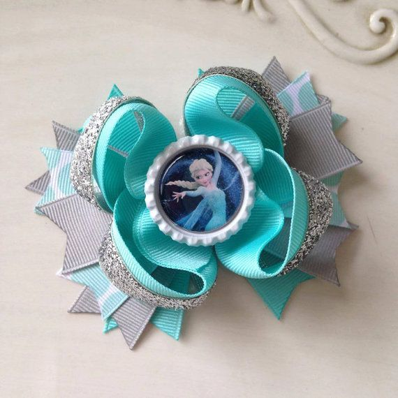 Frozen hair bow Elsa hair bow turquoise and by JoyfulJossyBowtique. OOOH! I have to make this. The girls at school love Frozen.