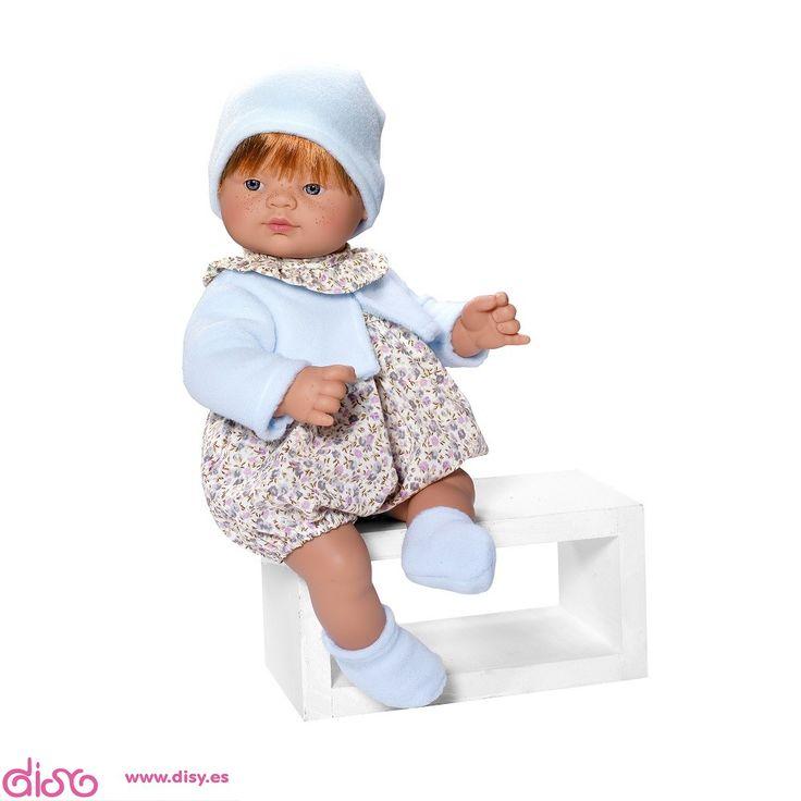 #muñecasbebéreales Muñecas Bebé Reales - Guille ranita flores grises y chaqueta celeste (36cm) www.disy.es