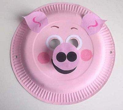 paper plate pig mask