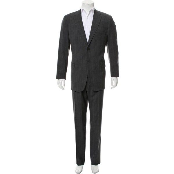 Pre-owned Valentino Virgin Wool Two-Piece Suit (£265) ❤ liked on Polyvore featuring men's fashion, men's clothing, men's suits, grey, men's apparel, mens grey suits, men's 2 piece suits, mens striped suit and mens suits