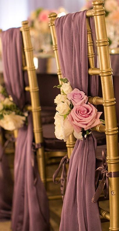 453 best table design chair focus images on pinterest wedding fabulous florals are the perfect addition to purple chair sashes wedding chair decoration gorgeous for fall junglespirit Choice Image