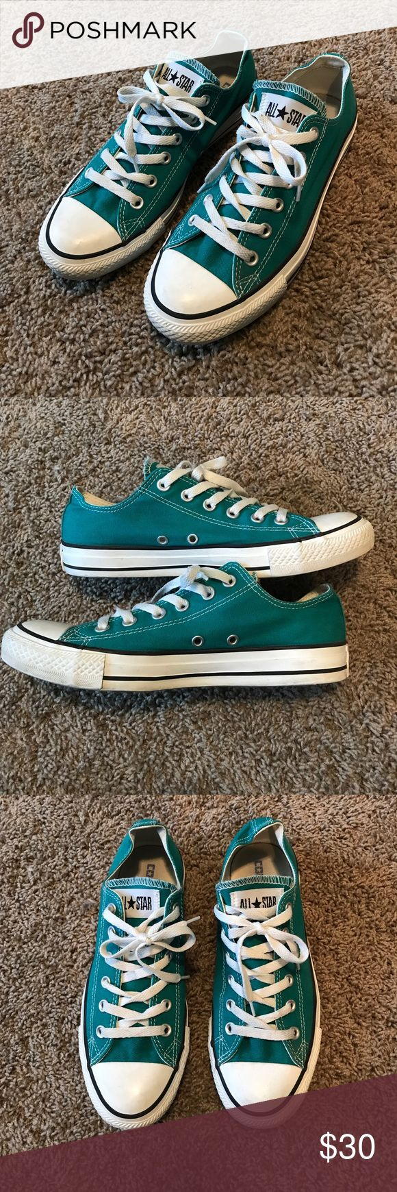 Turquoise Converse Pre-loved chucks! They have only been worn by me a few times and have a lot to give still! Make an offer! Converse Shoes Sneakers