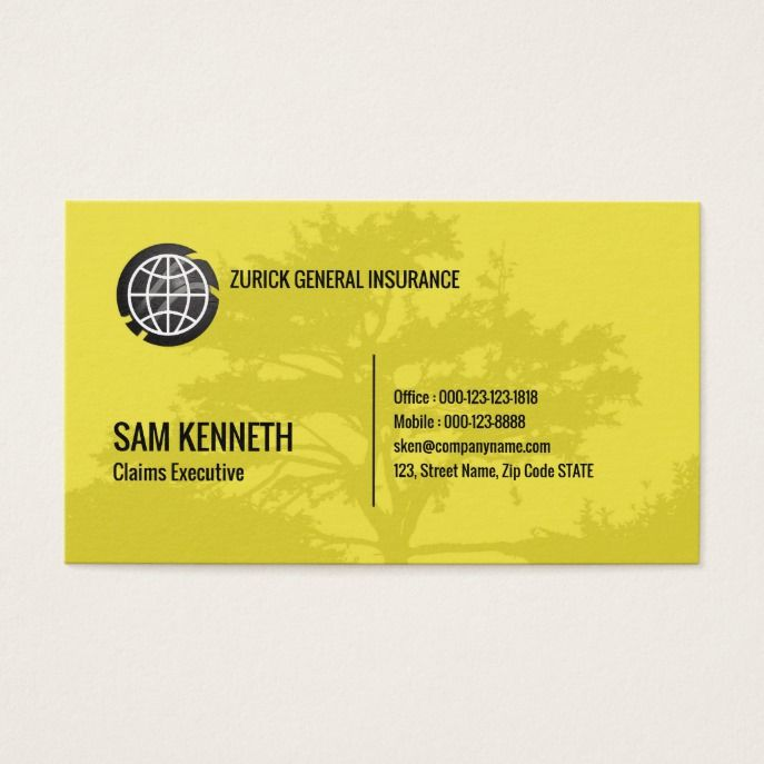 Simple Modern Elegant Yellow Tree Business Card Custom Office