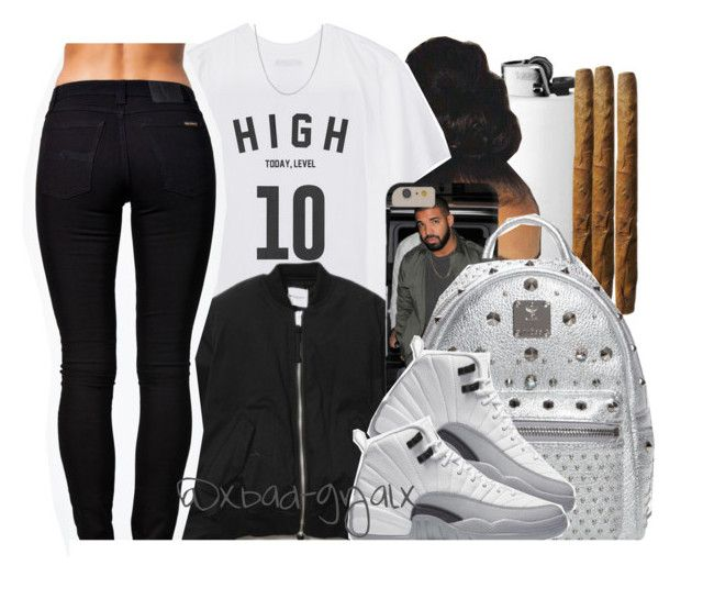 """When a fight juss broke out in class so you sneakin on polyvore like..."" by xbad-gyalx ❤ liked on Polyvore featuring Studio Concrete, Nudie Jeans Co., Fremada and MCM"