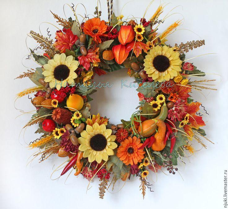 Купить Венок осенний на дверь или стену Золотая Осень - оранжевый, венок на…